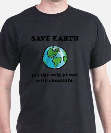 Save Earth Chocolate Black T-Shirt