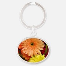 Square gerbera Daisies Oval Keychain