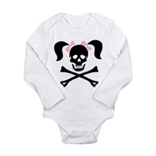 Girl Skull With Pink Bow Body Suit