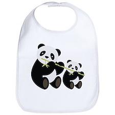 Two Pandas with Bamboo Bib