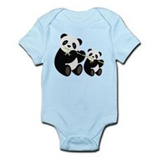 Two Pandas with Bamboo Body Suit