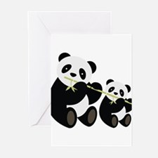 Two Pandas with Bamboo Greeting Cards