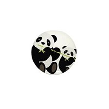 Two Pandas with Bamboo Mini Button (10 pack)