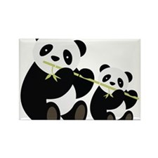 Two Pandas with Bamboo Magnets