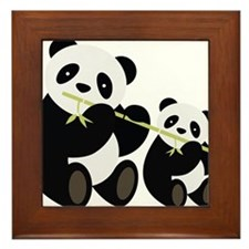 Two Pandas with Bamboo Framed Tile