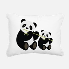 Two Pandas with Bamboo Rectangular Canvas Pillow