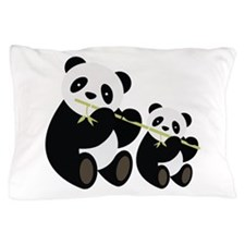 Two Pandas with Bamboo Pillow Case