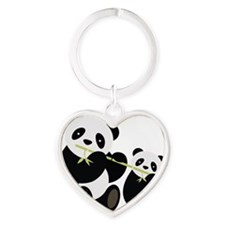 Two Pandas with Bamboo Keychains