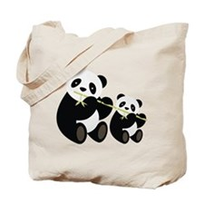 Two Pandas with Bamboo Tote Bag