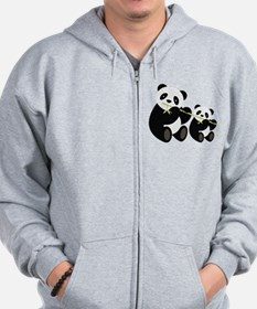 Two Pandas with Bamboo Zip Hoodie