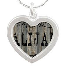 Alijah, Western Themed Silver Heart Necklace