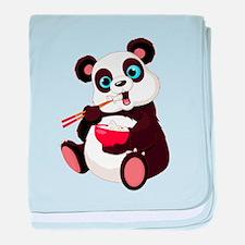 Panda Eating Rice baby blanket