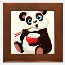 Panda Eating Rice Framed Tile