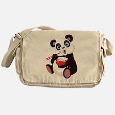 Panda Eating Rice Messenger Bag