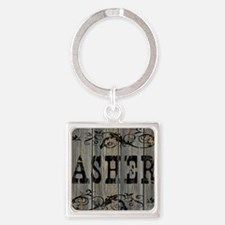 Asher, Western Themed Square Keychain