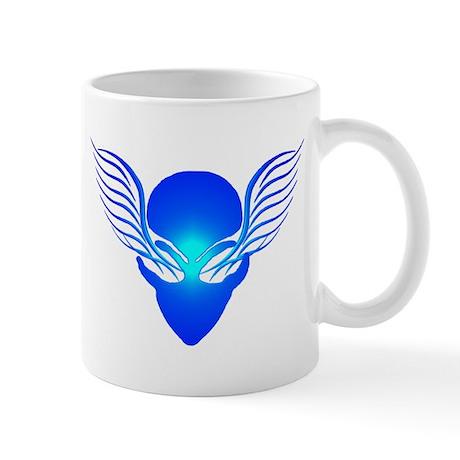 On the Wings of Aliens Blue Mug