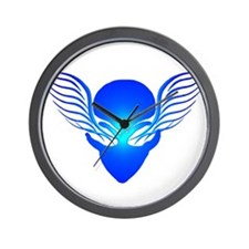On the Wings of Aliens Blue Wall Clock