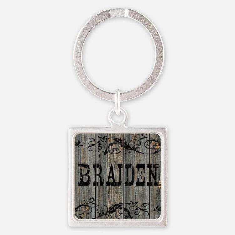 Braiden, Western Themed Square Keychain