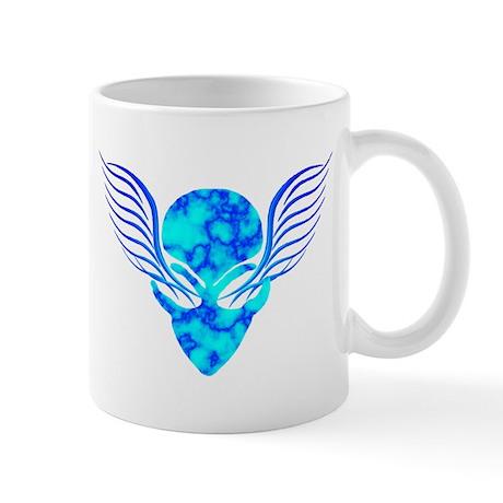 On the Wings of Aliens Dark Blue Mug