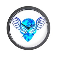 On the Wings of Aliens Dark Blue Wall Clock