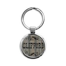 Clifford, Western Themed Round Keychain