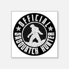 "Sasquatch Hunter - White on Square Sticker 3"" x 3"""
