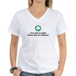 Feel Safe at Night Sleep with Women's V-Neck T-Shi