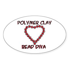 Polymer Clay Bead Diva Oval Decal