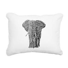 Elephant drawing grey Rectangular Canvas Pillow