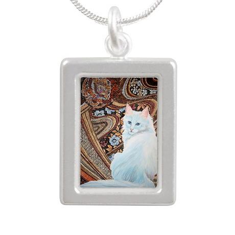 White Turkish Angora Silver Portrait Necklace