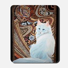 White Turkish Angora square Mousepad