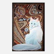 White Turkish Angora squa Postcards (Package of 8)