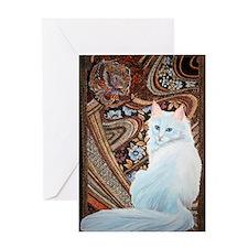 White Turkish Angora label Greeting Card