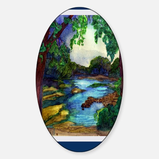 Summer Day of the Mississippi Path Sticker (Oval)
