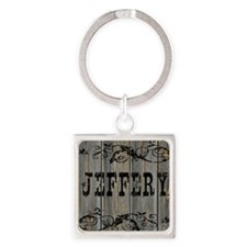 Jeffery, Western Themed Square Keychain
