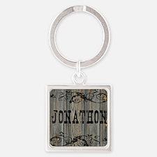 Jonathon, Western Themed Square Keychain