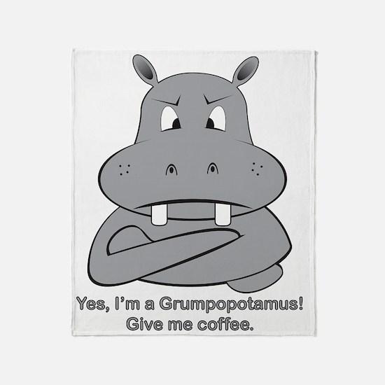 Grumpopotamus Coffee Throw Blanket