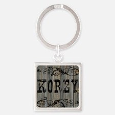 Korey, Western Themed Square Keychain