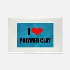 I Love Heart Polymer Clay Rectangle Magnet