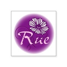"Remember Rue Purple Square Sticker 3"" x 3"""