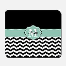 Black Mint Chevron Personalized Mousepad