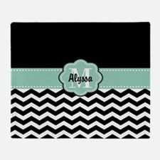 Black Mint Chevron Personalized Throw Blanket