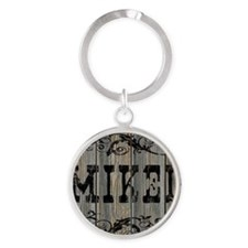 Mikel, Western Themed Round Keychain