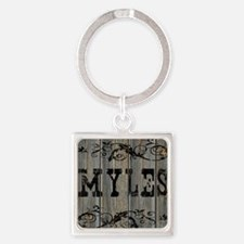 Myles, Western Themed Square Keychain
