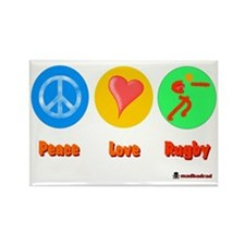 Peace Love Rugby 6000 Rectangle Magnet