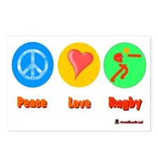 Peace Love Rugby 6000 Postcards (Package of 8)