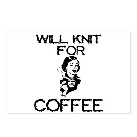 Will Knit for Coffee Postcards (Package of 8)