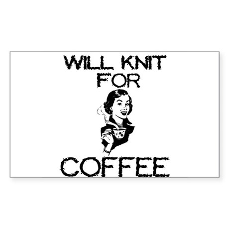 Will Knit for Coffee Rectangle Sticker