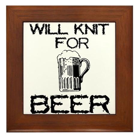 Will Knit for Beer Framed Tile