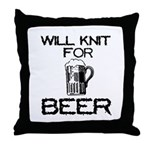 Will Knit for Beer Throw Pillow